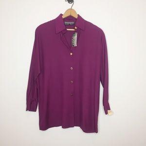 NWT Vintage Ellen Tracy purple blouse 100% silk